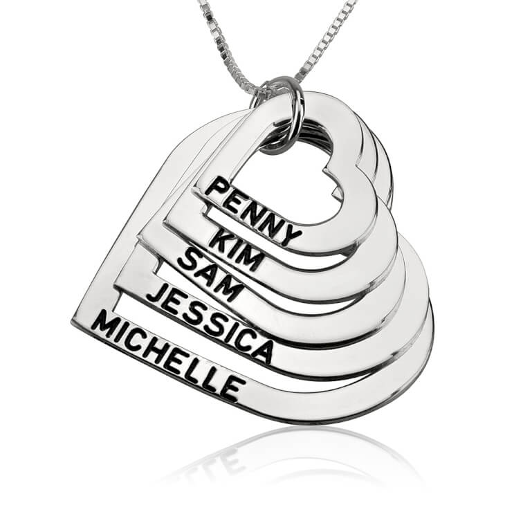 Sterling Silver Engraved Heart Mother Necklace  - Picture 4