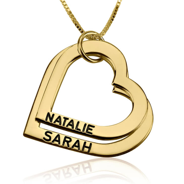 24k Gold Plated Engraved Heart Mother Necklace  - Picture 2