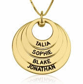 24k Gold Plated Curved Ring Engraved Mother Necklace