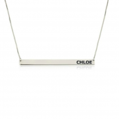 Sterling Silver Thin Monogram Bar Necklace