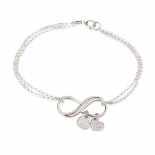 Sterling Silver Infinity Initial Heart Charms Bracelet