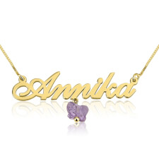 14K Gold Alegro Name Necklace With A Purple Butterfly
