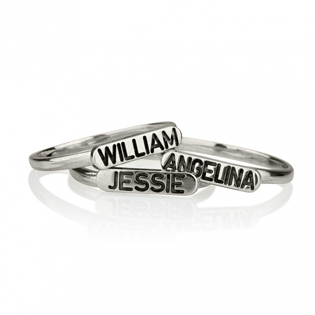 sterling silver engraved name stacking ring onecklace