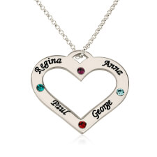 Sterling Silver Engraved Heart Family Name and Birthstone Necklace