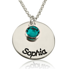 Sterling Silver Engraved Disc Name Necklace with Birthstone