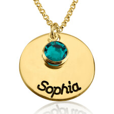24k Gold Plated Engraved Disc Name Necklace with Birthstone