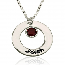 Sterling Silver Engraved Circle Name Necklace with Birthstone