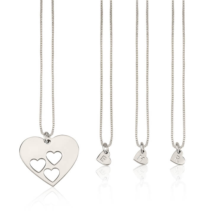 Sterling Silver Floating Initial Hearts Mother Daughter Necklace Set  - Picture 2