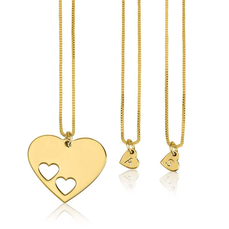 24k Gold Plated Floating Initial Hearts Mother Daughter Necklace Set