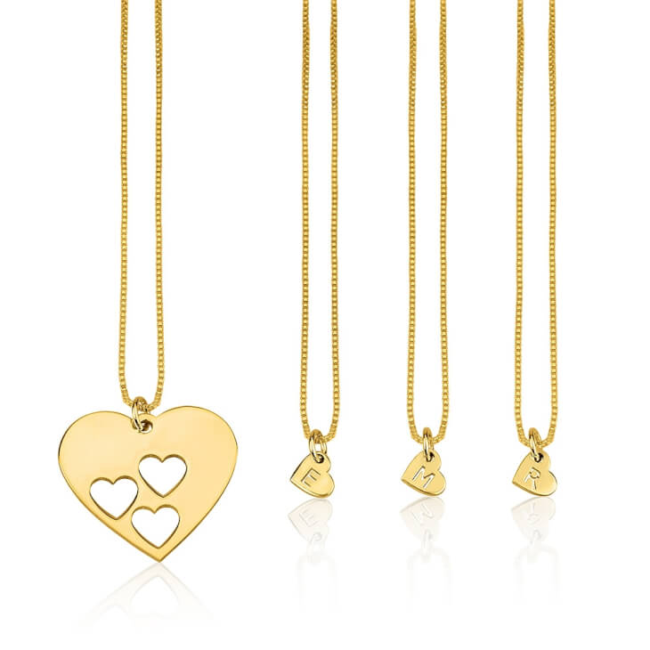 24k Gold Plated Floating Initial Hearts Mother Daughter Necklace Set  - Picture 2