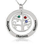Sterling Silver Family Tree Birthstone Name Necklace - Thumb