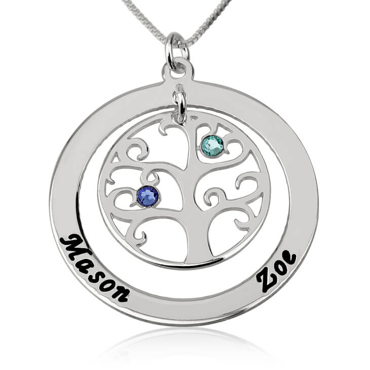 Sterling Silver Family Tree Birthstone Name Necklace  - Picture 2