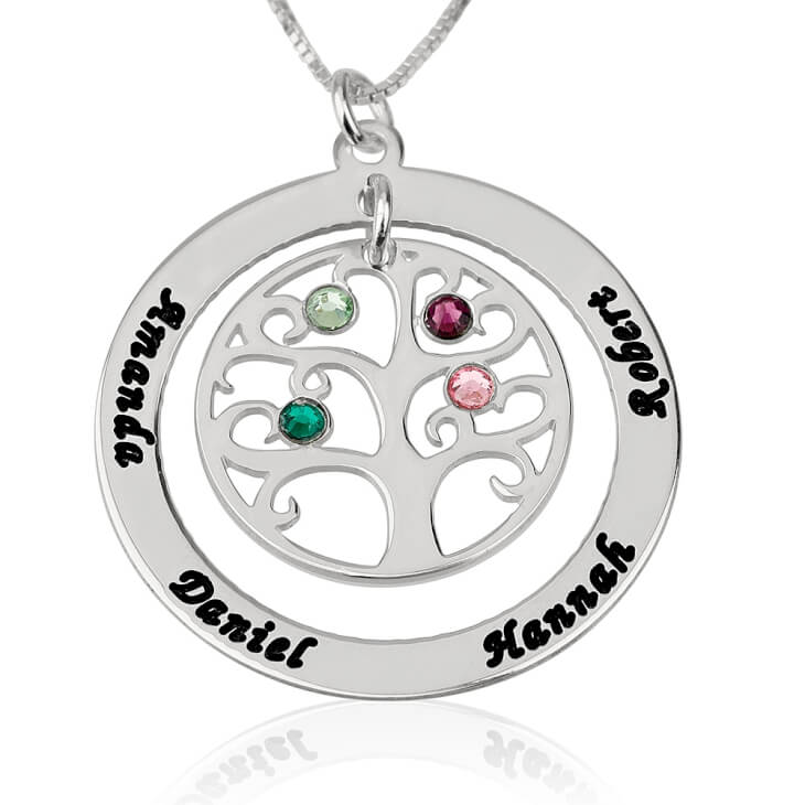 Sterling Silver Family Tree Birthstone Name Necklace  - Picture 3