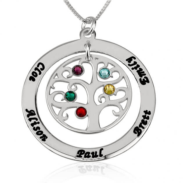 Sterling Silver Family Tree Birthstone Name Necklace  - Picture 4