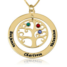 24k Gold Plated Family Tree Birthstone Name Necklace