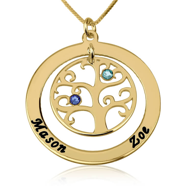 24k Gold Plated Family Tree Birthstone Name Necklace  - Picture 2