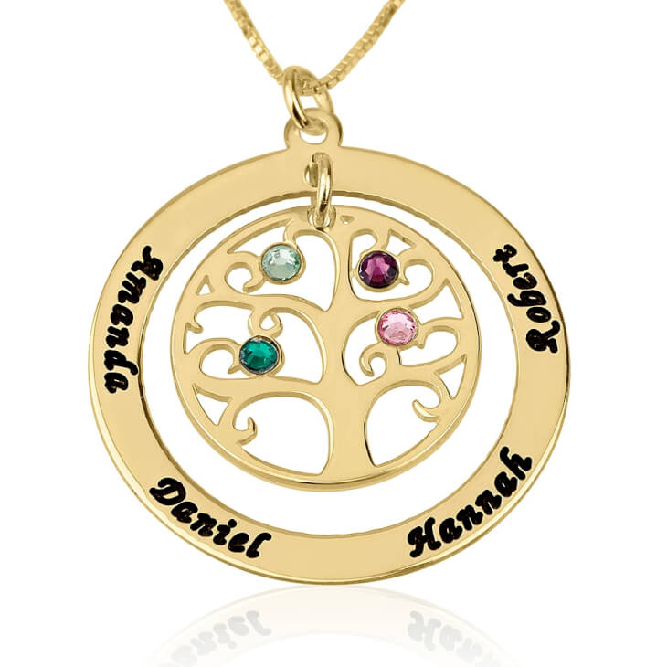 24k Gold Plated Family Tree Birthstone Name Necklace  - Picture 3