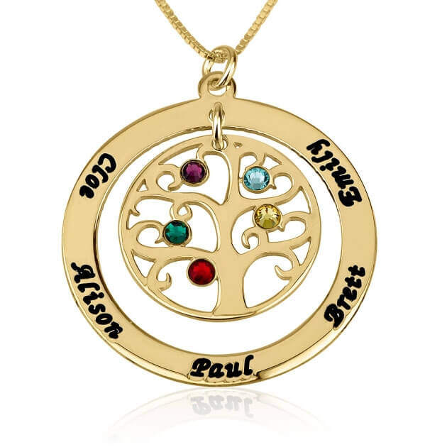 24k Gold Plated Family Tree Birthstone Name Necklace  - Picture 4