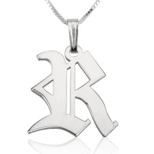 Sterling Silver Old English Initial Necklace