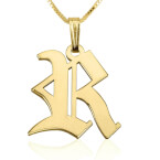 24k Gold Plated Old English Initial Necklace - Thumb