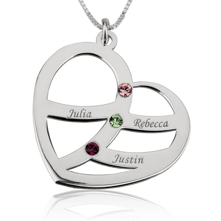 Sterling Silver Engraved Name and Birthstone Heart Mother Necklace  - Picture 2