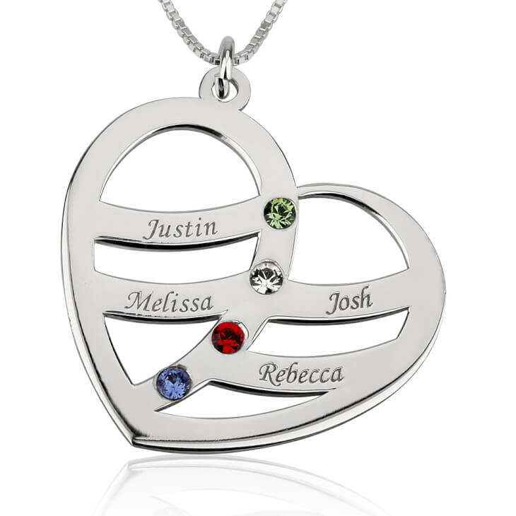 Sterling Silver Engraved Name and Birthstone Heart Mother Necklace  - Picture 3