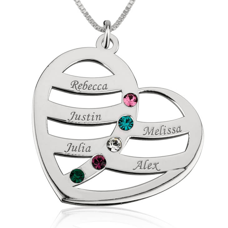 Sterling Silver Engraved Name and Birthstone Heart Mother Necklace  - Picture 4