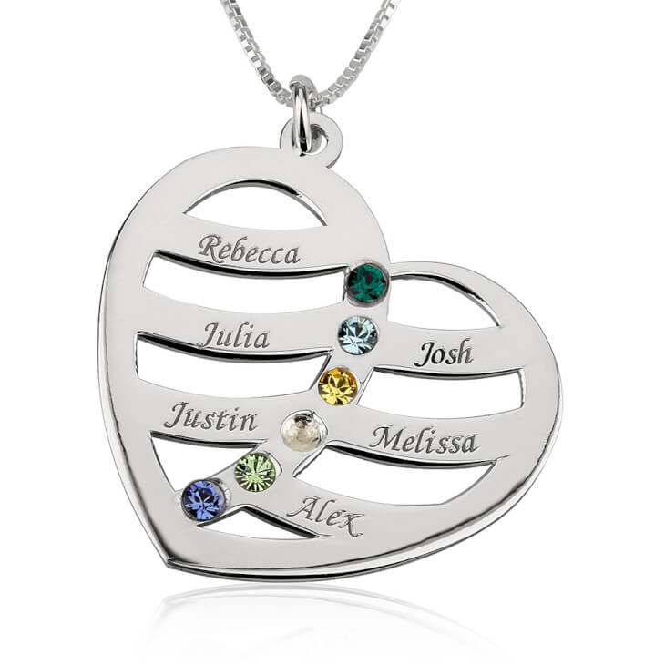 Sterling Silver Engraved Name and Birthstone Heart Mother Necklace  - Picture 5