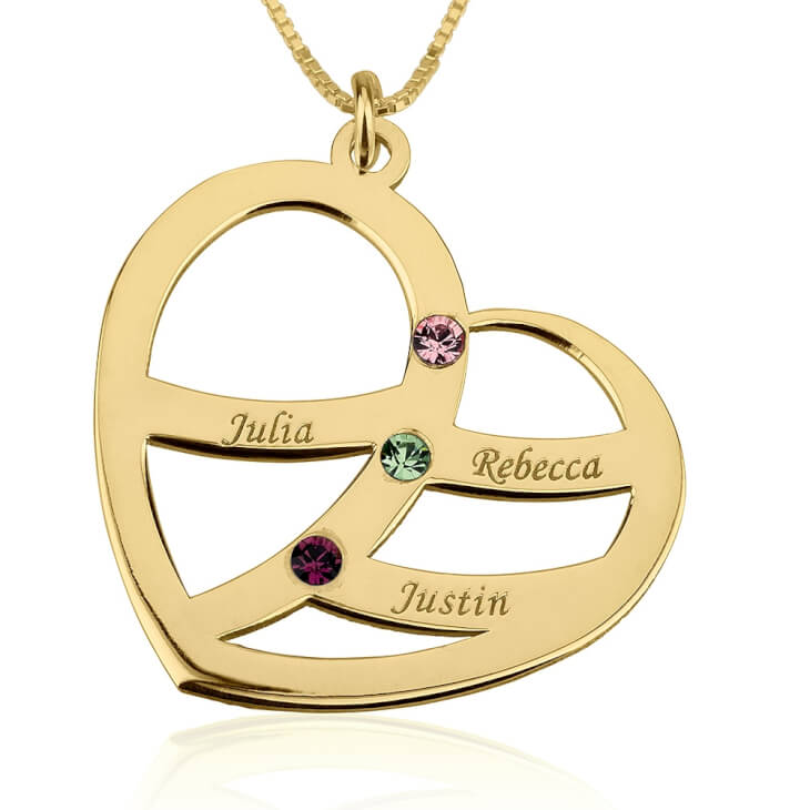 24k Gold Plated Engraved Name and Birthstone Heart Mother Necklace  - Picture 2