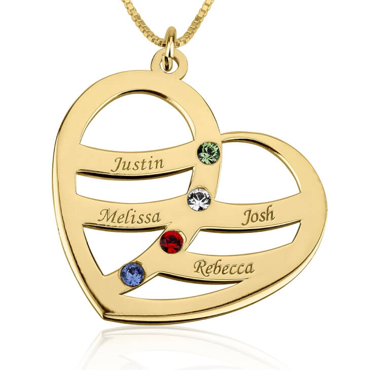 24k Gold Plated Engraved Name and Birthstone Heart Mother Necklace  - Picture 3