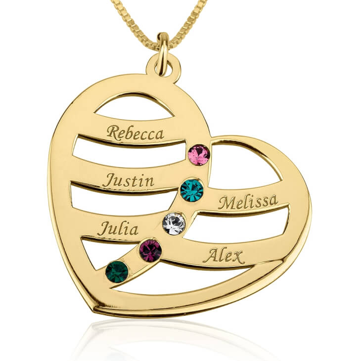 24k Gold Plated Engraved Name and Birthstone Heart Mother Necklace  - Picture 4