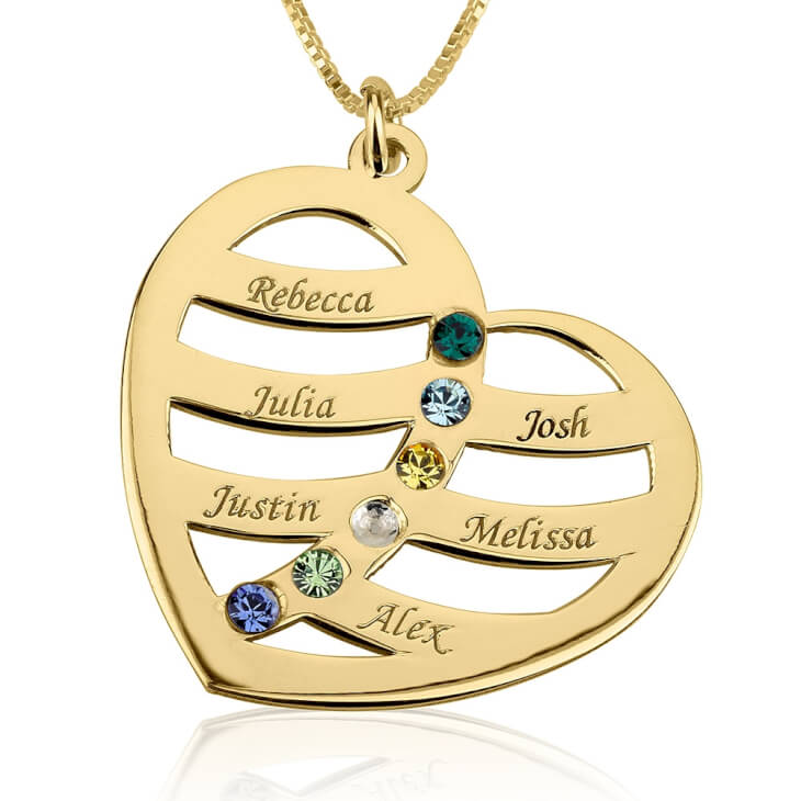 24k Gold Plated Engraved Name and Birthstone Heart Mother Necklace  - Picture 5
