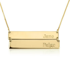 24k Gold Plated Engraved Stacked Bar Necklace