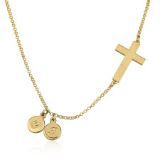 24k Gold Plated Sideways Cross Initial Necklace