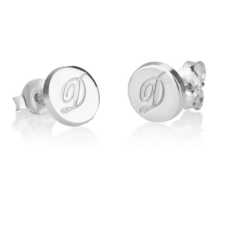 Sterling Silver Circle Initial Stud Earrings