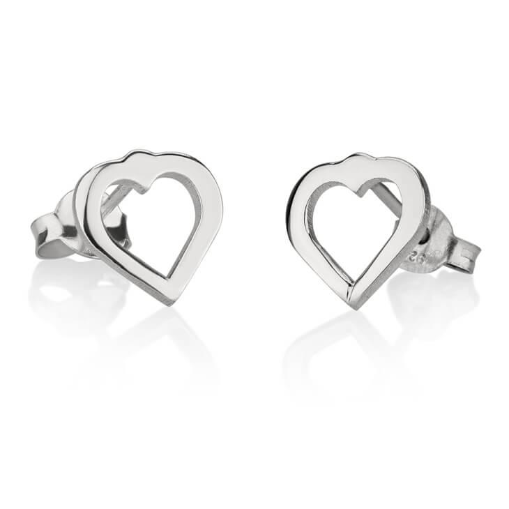 Sterling Silver Cut Out Heart Stud Earrings