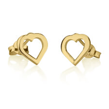 24k Gold Plated Cut Out Heart Stud Earrings