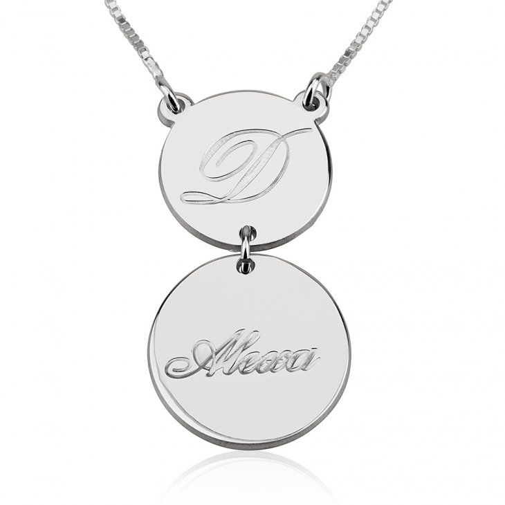 Sterling Silver Initial and Name Engraved Layered Necklace