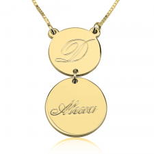 24k Gold Plated Initial and Name Engraved Layered Necklace