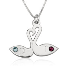 Sterling Silver Swans & Birthstone Love Necklace