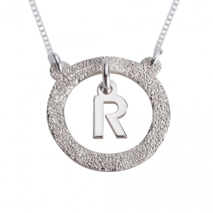 Sterling Silver Sparkling Dangling Initial Necklace