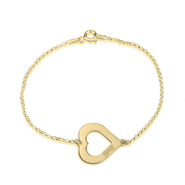 24k Gold Plated Cut Out Heart Engraved Bracelet