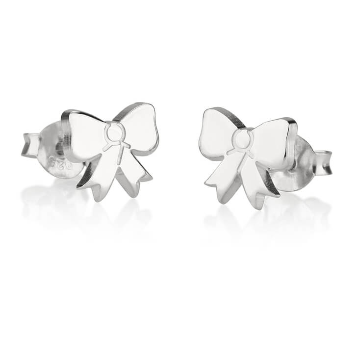 Sterling Silver Stud Bow Earrings