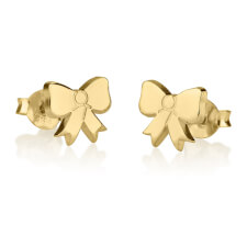 24k Gold Plated Stud Bow Earrings