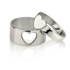 Sterling Silver Couples Heart Ring Set