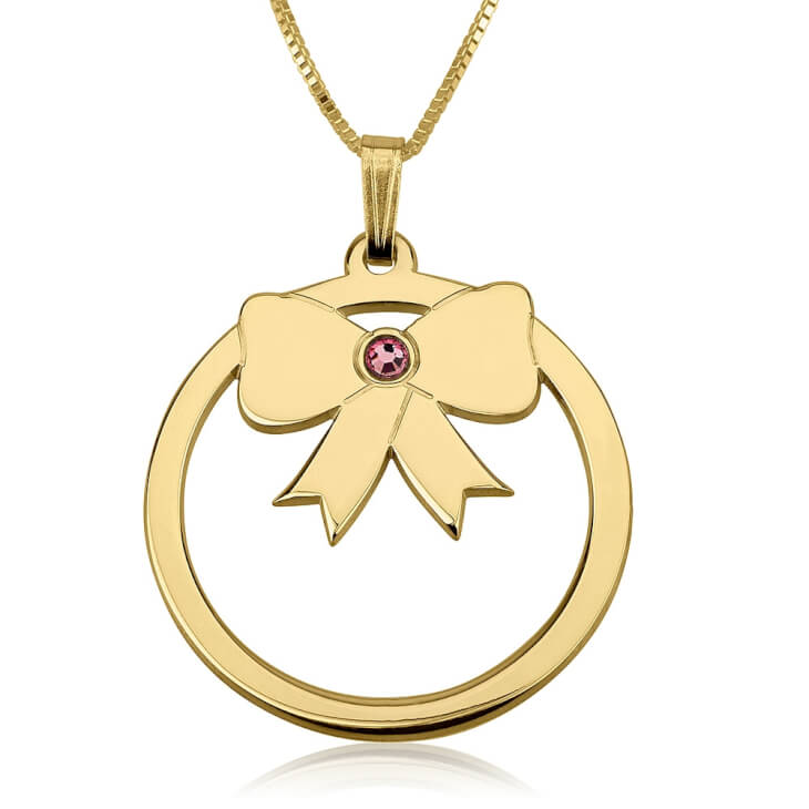 24k Gold Plated Birthstone Bow Necklace