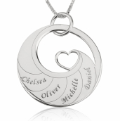 Sterling Silver Engraved Swirl Mother Necklace