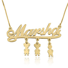 24k Gold Plated Mother Name Necklace with Dangling Kids Charms