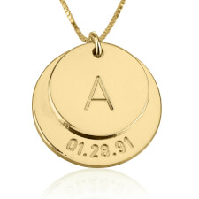 24k Gold Plated Engraved Initial and Date Necklace