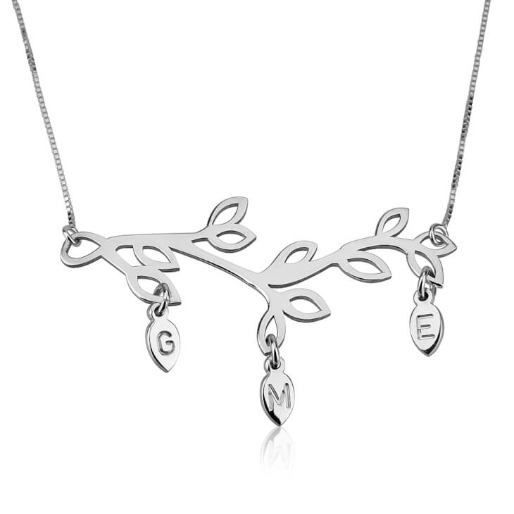 Sterling Silver Engraved Branch Mother Necklace